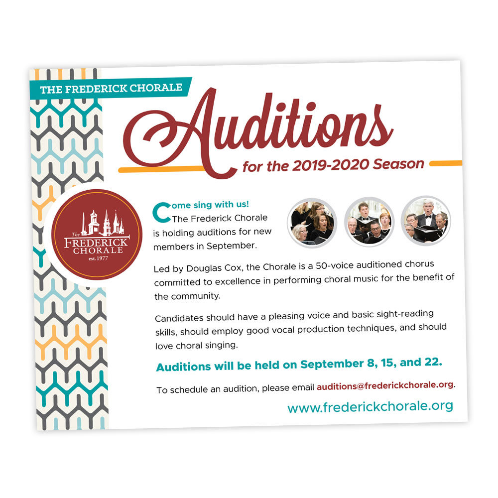 Advertising Design – Frederick Chorale Auditions Ad