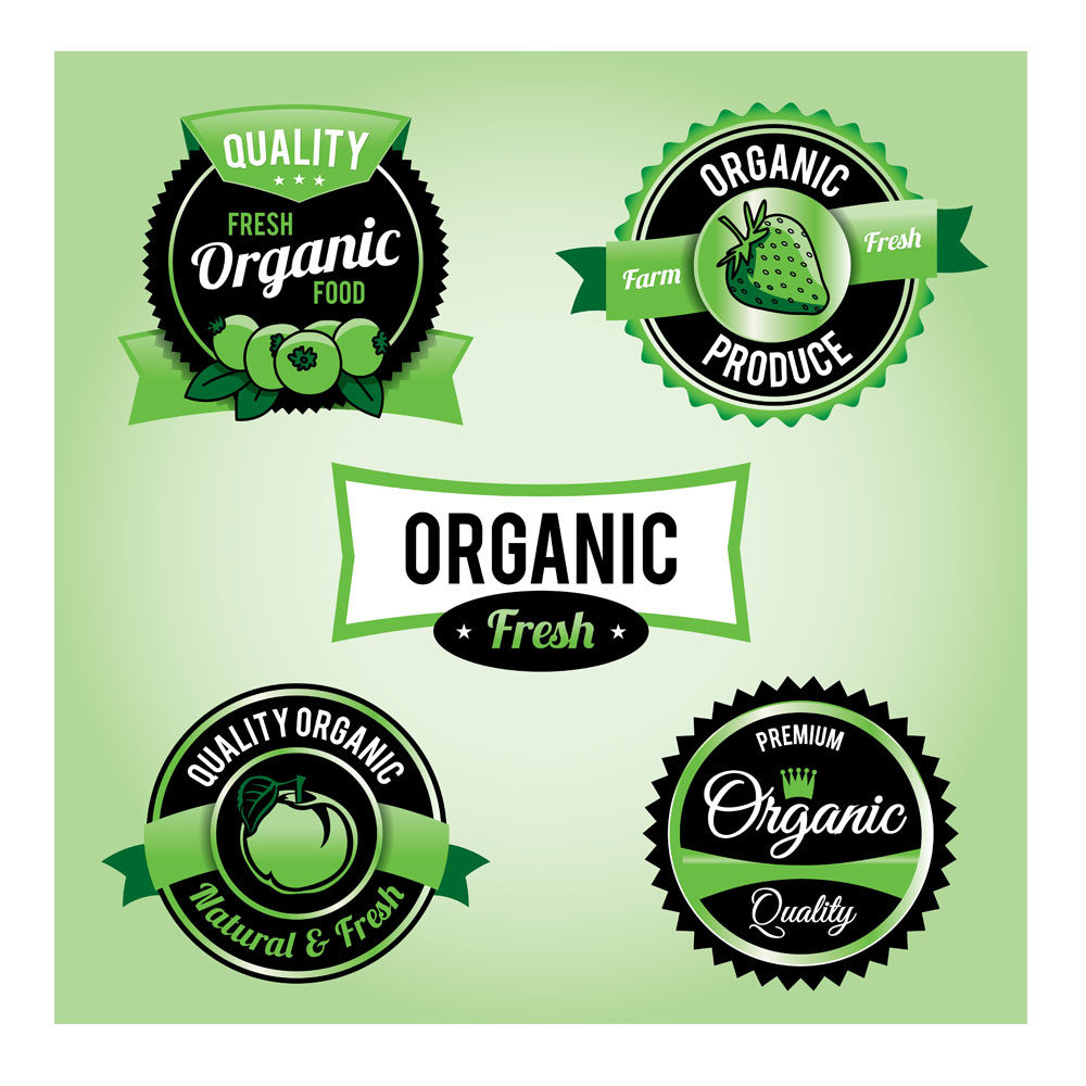 Illustration – Organic Produce Badge Set